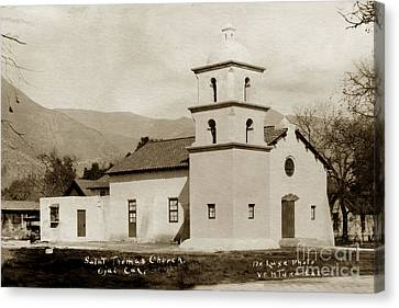 Canvas Print featuring the photograph  St. Thomas Aquinas Catholic Church  Ojai Cal 1920 by California Views Mr Pat Hathaway Archives
