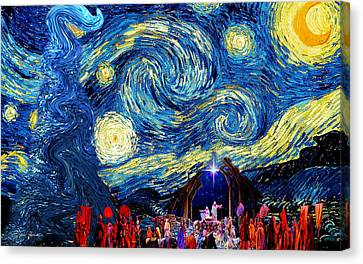 Starry Night In Bethlehem Canvas Print by Sylvia Thornton