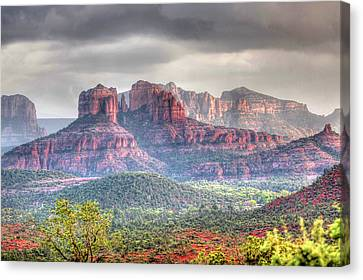 Canvas Print featuring the photograph  Storm Clouds Red Rocks by Harold Rau