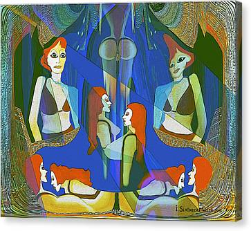 Summer Night Meeting  - 124 Canvas Print by Irmgard Schoendorf Welch