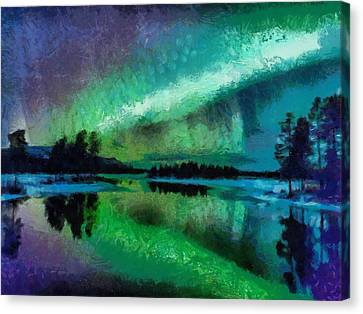 Sunset In Lapland Aurora Borealis Canvas Print