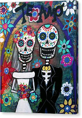 Te Amo Wedding Dia De Los Muertos Canvas Print by Pristine Cartera Turkus