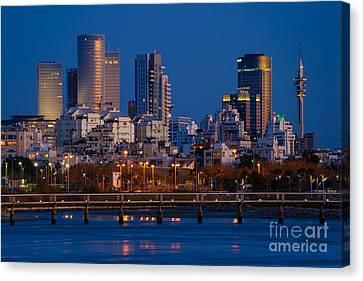 Tel Aviv Blue Hour Skyline  Canvas Print by Ronsho