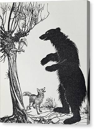 The Bear And The Fox Canvas Print by Arthur Rackham