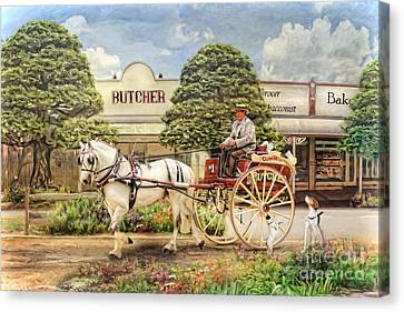 Horse And Cart Canvas Print -  The Butchers Cart by Trudi Simmonds