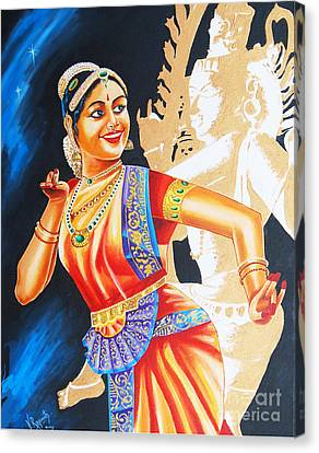 Canvas Print featuring the painting  The Dance Divine by Ragunath Venkatraman