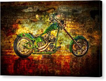 Two Wheeler Canvas Print -  The Green Chopper by Debra and Dave Vanderlaan