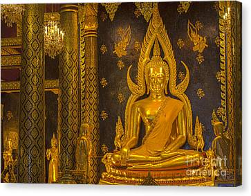 The Main Hall Of Wat Thardtong With Golden Buddha Statue Canvas Print