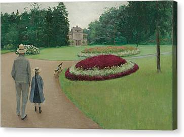 The Park Of The Caillebotte Property At Yerres Canvas Print