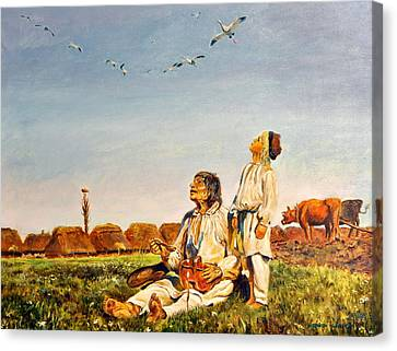 Canvas Print featuring the painting End Of The Summer- The Storks by Henryk Gorecki