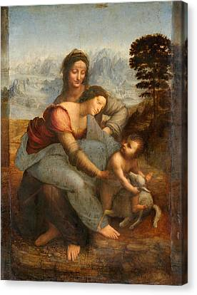 The Virgin And Child With St. Anne Canvas Print by Leonardo Da Vinci