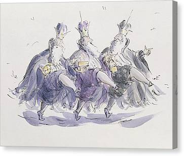Three Kings Dancing A Jig Canvas Print by Joanna Logan