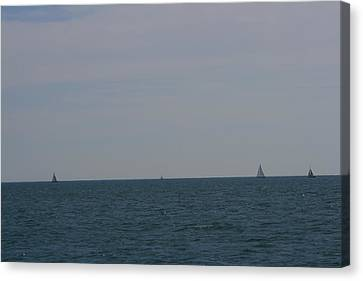 Four Yachts At Sea Canvas Print
