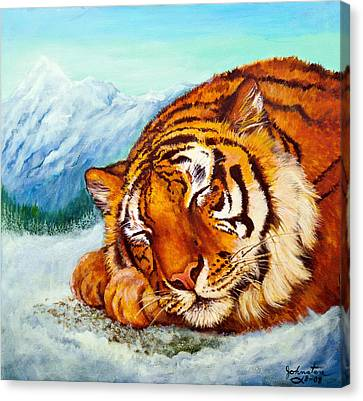 Canvas Print featuring the painting  Tiger Sleeping In Snow by Bob and Nadine Johnston