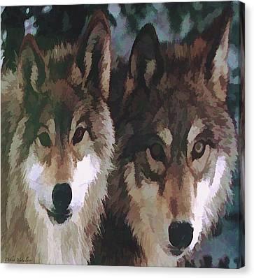 Together Forever Wolves Canvas Print