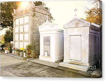 Canvas Print featuring the photograph   Tombstones  by Erika Weber