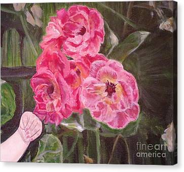 Touch Of The Roses Painting Canvas Print by Kimberlee Baxter