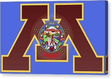 U Of M Minnesota State Flag Canvas Print by Daniel Hagerman