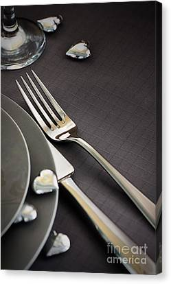 Valentines Day Dinner Canvas Print by Mythja  Photography