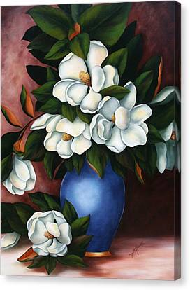 Vase Of Magnolias Canvas Print