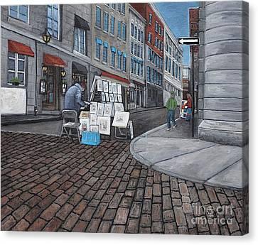 Vendeur Sur La Rue Vieux Montreal Canvas Print