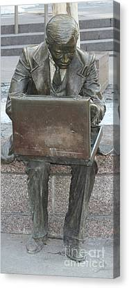 Canvas Print featuring the photograph  Wall Street Memorial Statue by John Telfer