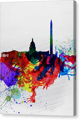 Washington Dc Watercolor Skyline 1 Canvas Print by Naxart Studio