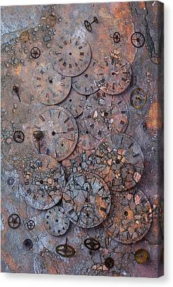 Watch Faces Decaying Canvas Print by Garry Gay