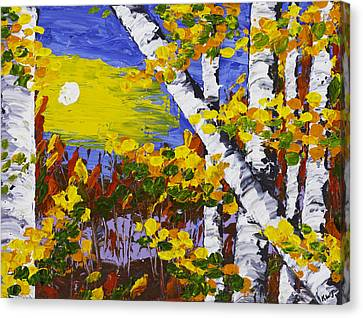 White Birch Trees In Fall Abstract Painting Canvas Print by Keith Webber Jr