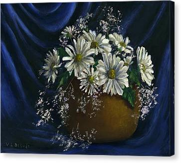 White Daisies In Blue Fabric Still Life Art Canvas Print by Lenora  De Lude