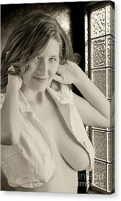 Boudoir Canvas Print -  Woman With An Open Shirt Standing Near A Window  by Kendree Miller