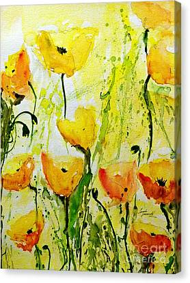 Yellow Poppy 2 - Abstract Floral Painting Canvas Print by Ismeta Gruenwald