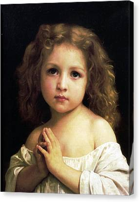 Young Girl Child Praying Canvas Print