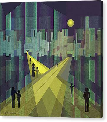 003 - Nightwalking  To A Distant City Canvas Print by Irmgard Schoendorf Welch