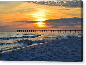 0108 Sunset Colors Over Navarre Pier On Navarre Beach With Gulls Canvas Print by Jeff at JSJ Photography