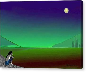 011 - Moon River Canvas Print by Irmgard Schoendorf Welch