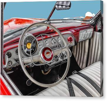 Custom Ford Canvas Print - 1951 Ford Interior Driver Controls by Frank J Benz
