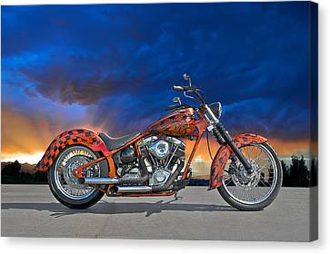 02 Hd Custom Bike Canvas Print by Dave Koontz