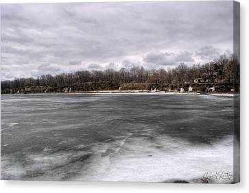 02 Partially Frozen Ripley Ny Canvas Print by Michael Frank Jr