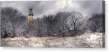 0243 Grosse Point Lighthouse Evanston Illinois Canvas Print by Steve Sturgill