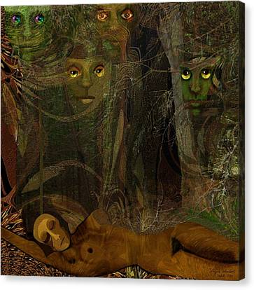 026  - Some Are Forever Sleeping In The Woods Canvas Print by Irmgard Schoendorf Welch