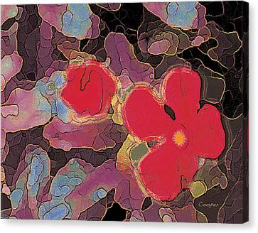 044 Cosmic Impatiens 6 With Blue Canvas Print