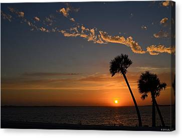0502 Palms With Sunrise Colors On Santa Rosa Sound Canvas Print