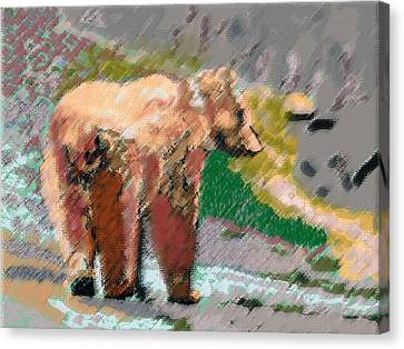 081914 Pastel Painting Grizzly Bear Canvas Print by Garland Oldham