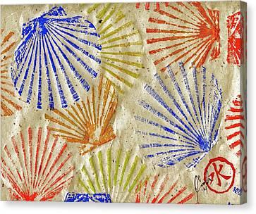 Gyotaku Scallops - Bivalvify - Seafood Melody Canvas Print by Jeffrey Canha