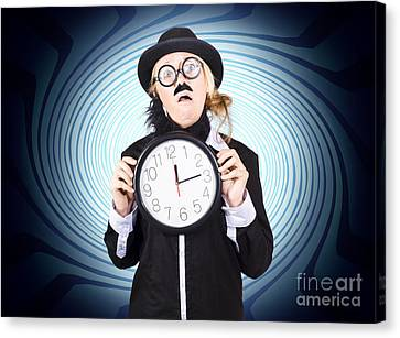 Nutty Professor With Clock. Crazy Science Time Canvas Print by Jorgo Photography - Wall Art Gallery