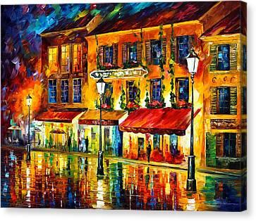 Paris Night Montmartre Canvas Print by Leonid Afremov