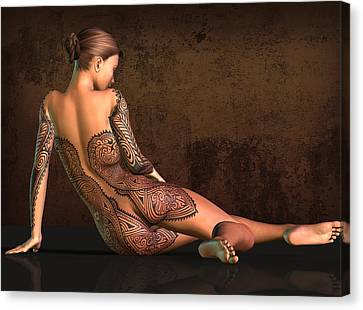 Tattooed Nude 4 Canvas Print by Kaylee Mason