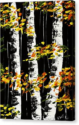 White Birch Trees In Fall On Black Background Painting Canvas Print by Keith Webber Jr