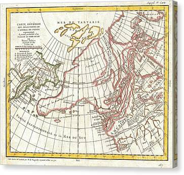 I Am Sailing Canvas Print - 1772 Vaugondy  Diderot Map Of Alaska The Pacific Northwest And The Northwest Passage by Paul Fearn